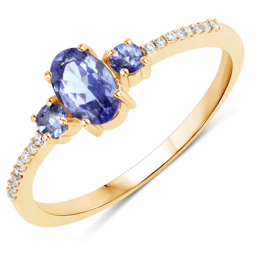Tanzanite-0.63 Carat Genuine Tanzanite and White Diamond 14K Yellow Gold Ring