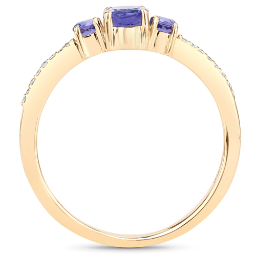 0.61 Carat Genuine Tanzanite and White Diamond 14K Yellow Gold Ring