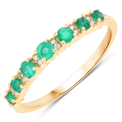 Emerald-0.38 Carat Genuine Zambian Emerald and White Diamond 14K Yellow Gold Ring