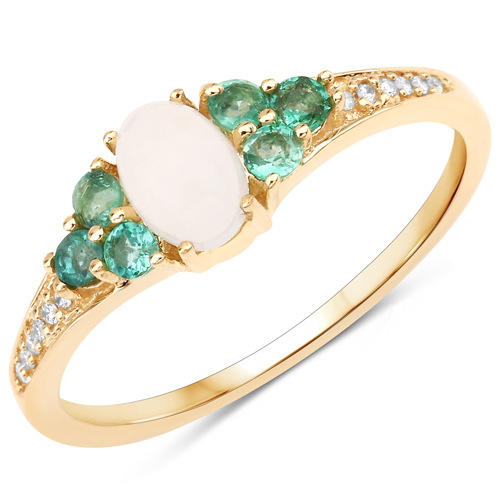 Opal-0.49 Carat Genuine Ethiopian Opal, Zambian Emerald and White Diamond 14K Yellow Gold Ring