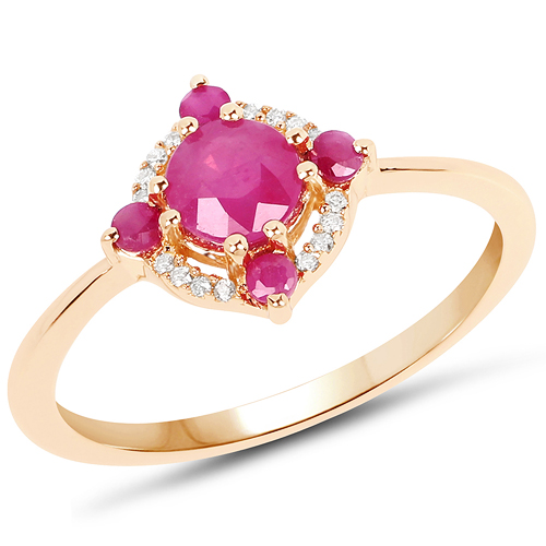 Ruby-0.78 Carat Genuine Ruby and White Diamond 14K Yellow Gold Ring