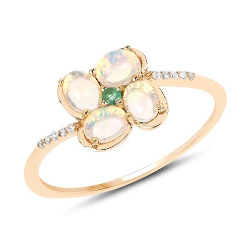 Opal-0.54 Carat Genuine Ethiopian Opal, Zambian Emerald and White Diamond 14K Yellow Gold Ring