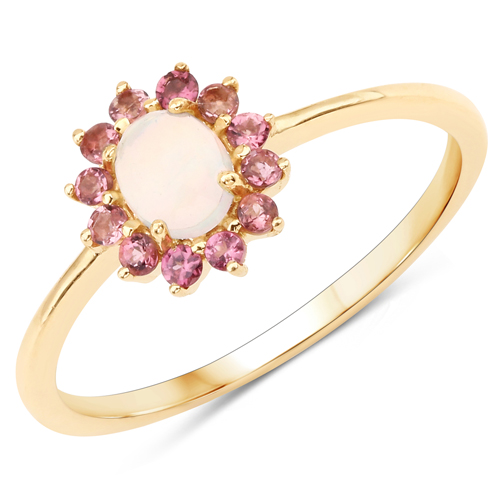 Opal-0.46 Carat Genuine Opal Ethiopian and Pink Tourmaline 14K Yellow Gold Ring