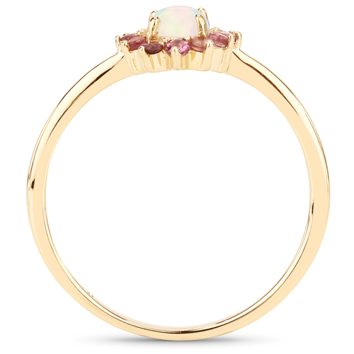 0.46 Carat Genuine Opal Ethiopian and Pink Tourmaline 14K Yellow Gold Ring