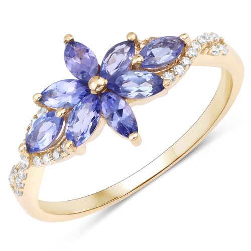 Tanzanite-0.72 Carat Genuine Tanzanite and White Diamond 14K Yellow Gold Ring