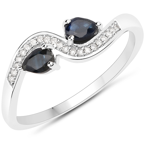 Sapphire-0.36 Carat Genuine Blue Sapphire and White Diamond 18K White Gold Ring