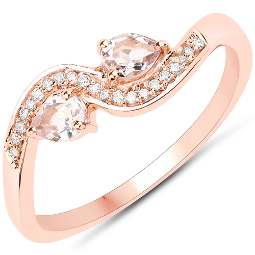 Rings-0.32 Carat Genuine Morganite and White Diamond 18K Rose Gold Ring