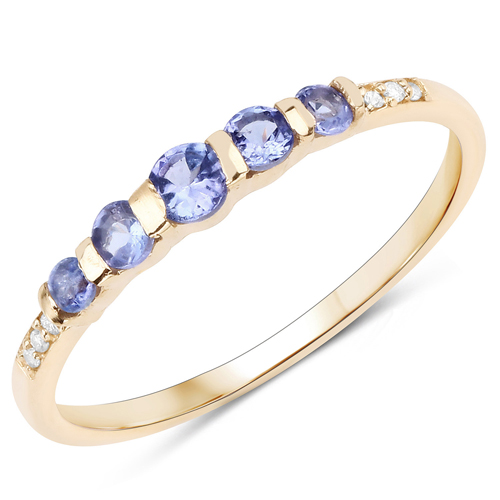 Tanzanite-0.36 Carat Genuine Tanzanite and White Diamond 14K Yellow Gold Ring
