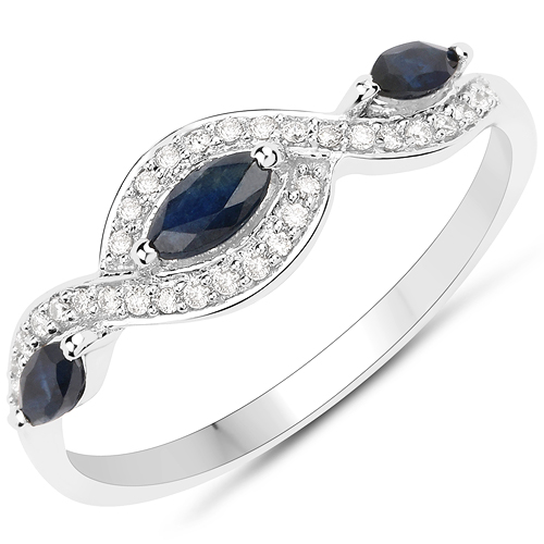 Sapphire-0.42 Carat Genuine Blue Sapphire and White Diamond 18K White Gold Ring