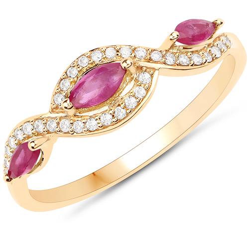 Ruby-0.42 Carat Genuine Ruby and White Diamond 18K Yellow Gold Ring