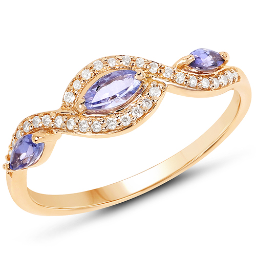 Tanzanite-0.40 Carat Genuine Tanzanite and White Diamond 14K Yellow Gold Ring