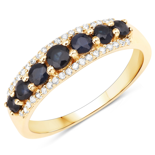 Sapphire-0.71 Carat Genuine Blue Sapphire and White Diamond 14K Yellow Gold Ring