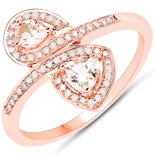 Rings-0.51 Carat Genuine Morganite and White Diamond 18K Rose Gold Ring