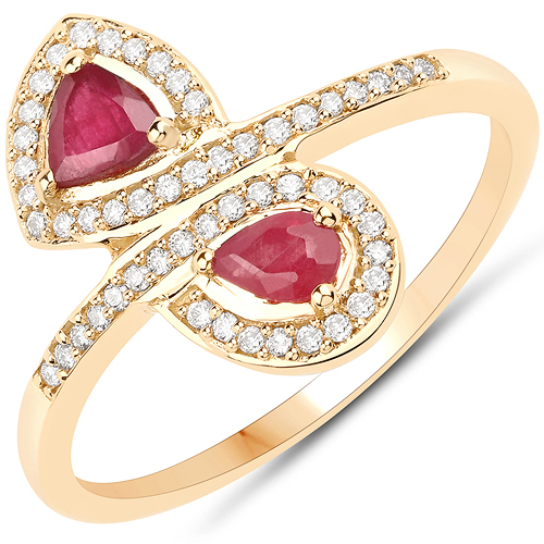 Ruby-0.66 Carat Genuine Ruby and White Diamond 18K Yellow Gold Ring