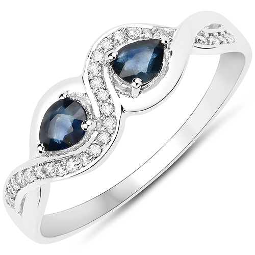 Sapphire-0.38 Carat Genuine Blue Sapphire and White Diamond 18K White Gold Ring