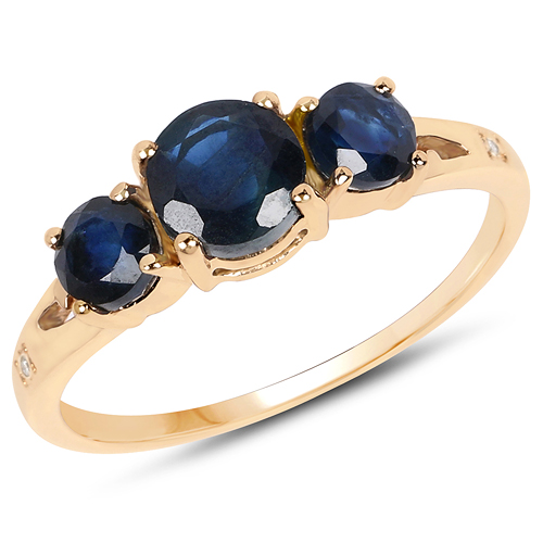 Sapphire-1.46 Carat Genuine Blue Sapphire and White Diamond 14K Yellow Gold Ring