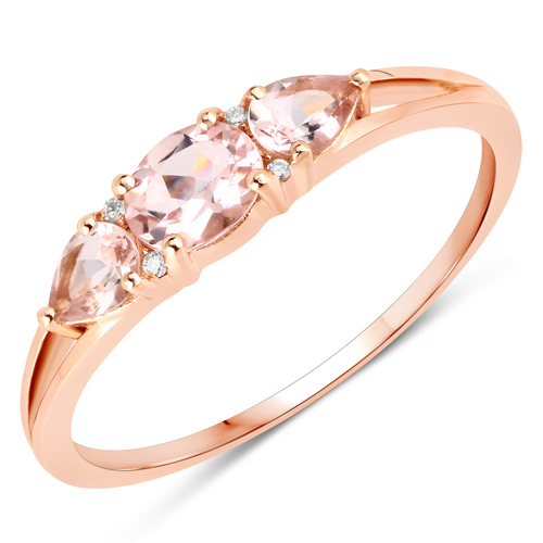 Rings-0.52 Carat Genuine Morganite and White Diamond 14K Rose Gold Ring