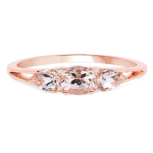 0.52 Carat Genuine Morganite and White Diamond 14K Rose Gold Ring