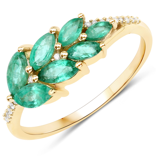 Emerald-0.69 Carat Genuine Zambian Emerald and White Diamond 14K Yellow Gold Ring