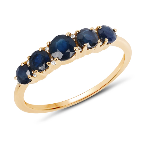 Sapphire-1.03 Carat Genuine Blue Sapphire and White Diamond 14K Yellow Gold Ring