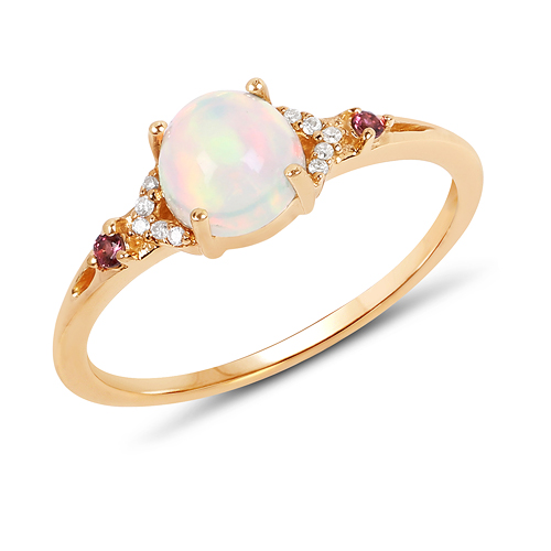 Opal-0.57 Carat Genuine Opal Ethiopian, Pink Tourmaline & White Diamond 14K Yellow Gold Ring