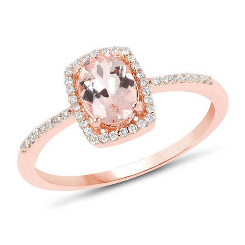 Rings-0.83 Carat Genuine Morganite and White Diamond 14K Rose Gold Ring