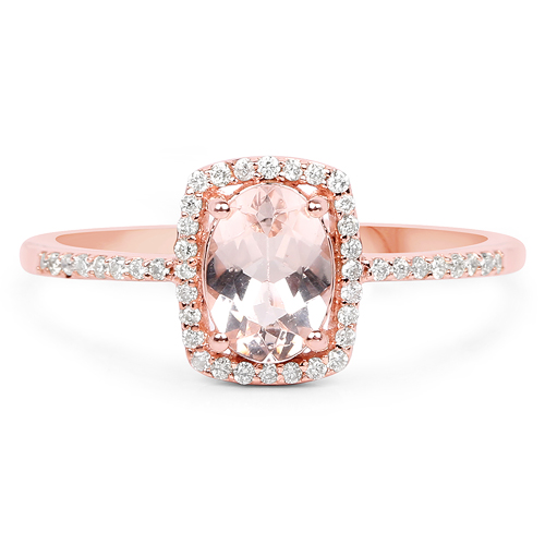 0.83 Carat Genuine Morganite and White Diamond 14K Rose Gold Ring