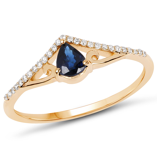 Sapphire-0.40 Carat Genuine Blue Sapphire and White Diamond 14K Yellow Gold Ring