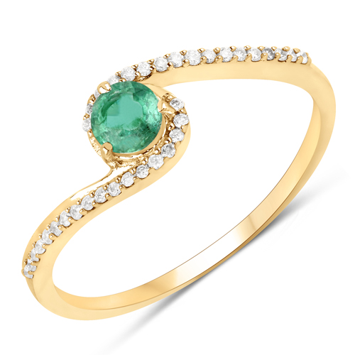 Emerald-0.34 Carat Genuine Zambian Emerald and White Diamond 14K Yellow Gold Ring