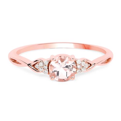 0.45 Carat Genuine Morganite and White Diamond 14K Rose Gold Ring