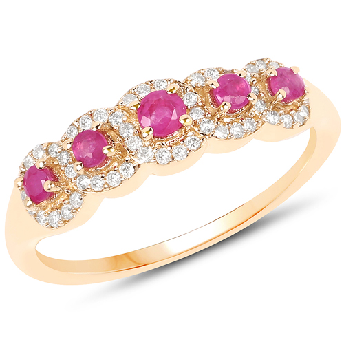 Ruby-0.45 Carat Genuine Ruby and White Diamond 14K Yellow Gold Ring