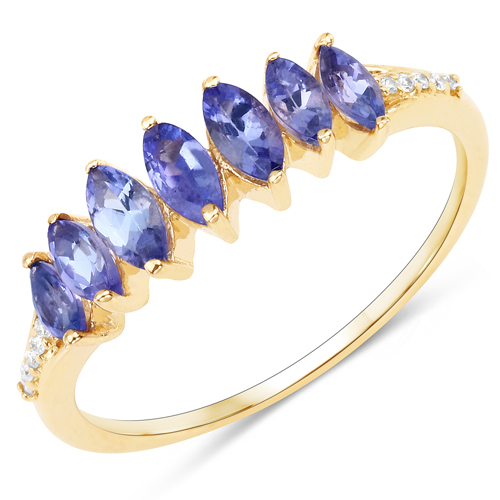 Tanzanite-0.76 Carat Genuine Tanzanite and White Diamond 14K Yellow Gold Ring