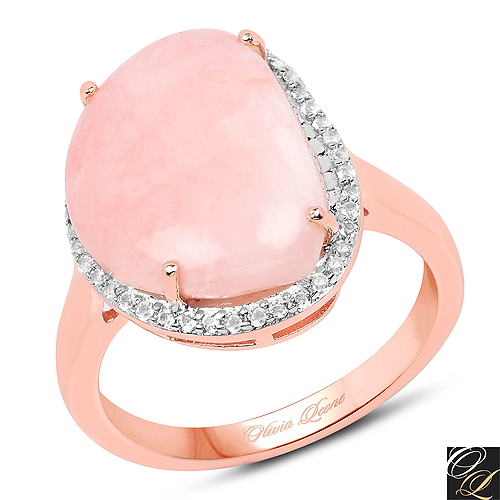 Rings-14K Rose Gold Plated 5.10 Carat Genuine Pink Opal And White Topaz .925 Sterling Silver Ring