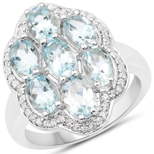 Rings-3.09 Carat Genuine Aquamarine and White Zircon .925 Sterling Silver Ring