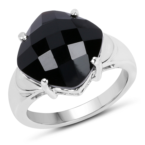 Rings-6.05 Carat Genuine Black Onyx .925 Sterling Silver Ring