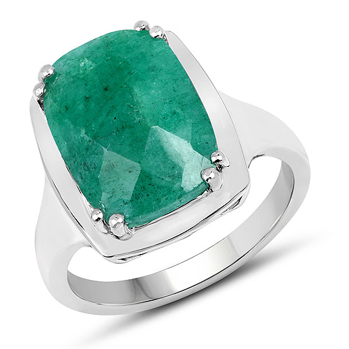Emerald-5.70 Carat Dyed Emerald .925 Sterling Silver Ring