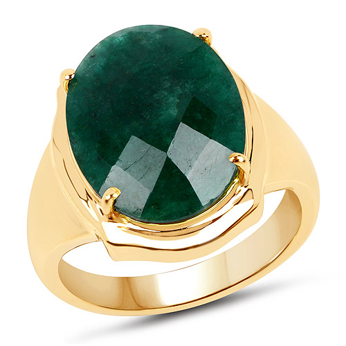 Emerald-14K Yellow Gold Plated 7.80 Carat Dyed Emerald .925 Sterling Silver Ring