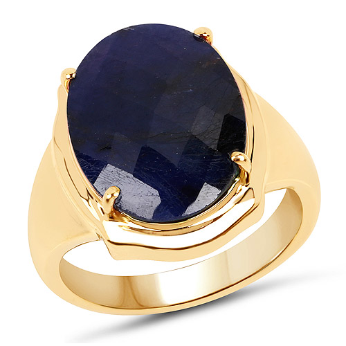 Sapphire-14K Yellow Gold Plated 10.10 Carat Dyed Sapphire .925 Sterling Silver Ring