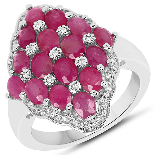 Ruby-3.80 Carat Ruby and White Zircon .925 Streling Silver Ring