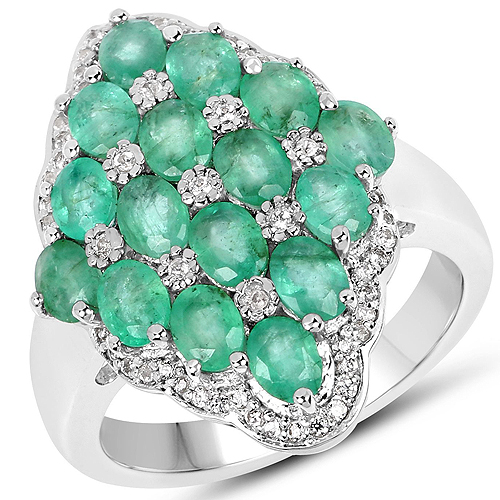 Emerald-2.68 Carat Zambian Emerald and White Zircon .925 Streling Silver Ring