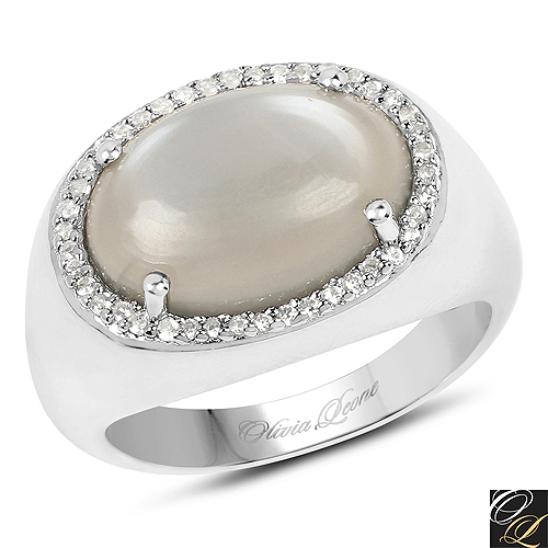 Rings-5.28 Carat Genuine Grey Moonstone And White Topaz .925 Sterling Silver Ring