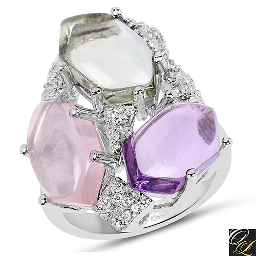 Amethyst-10.02 Carat Genuine Multi Stone .925 Sterling Silver Ring