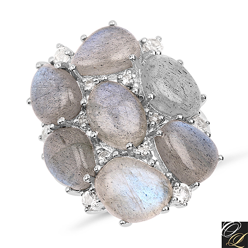 Rings-10.44 Carat Genuine Labradorite And White Topaz .925 Sterling Silver Ring