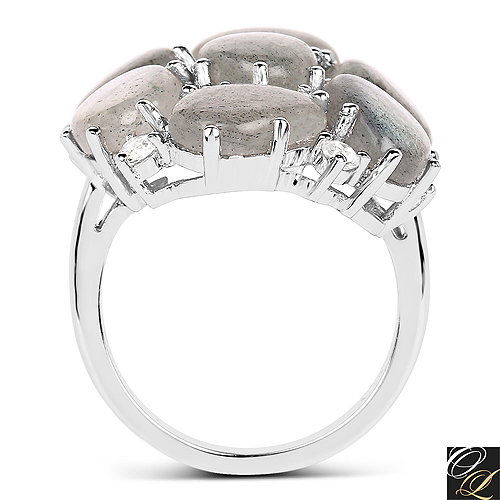 10.44 Carat Genuine Labradorite And White Topaz .925 Sterling Silver Ring