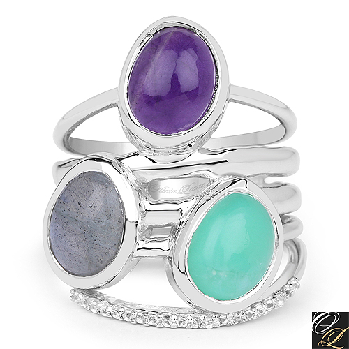 4.00 Carat Genuine Multi Stone .925 Sterling Silver Ring