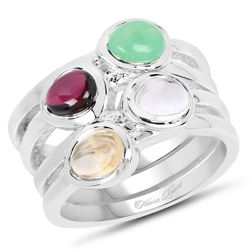Rings-2.78 Carat Genuine Multi Stone .925 Sterling Silver Ring