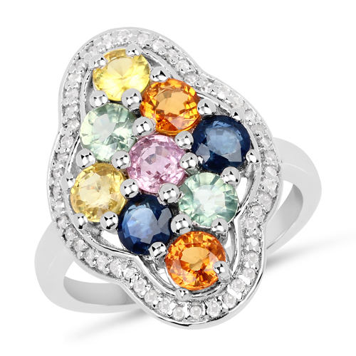 Sapphire-2.63 Carat Genuine Multi Sapphire and White Diamond .925 Sterling Silver Ring