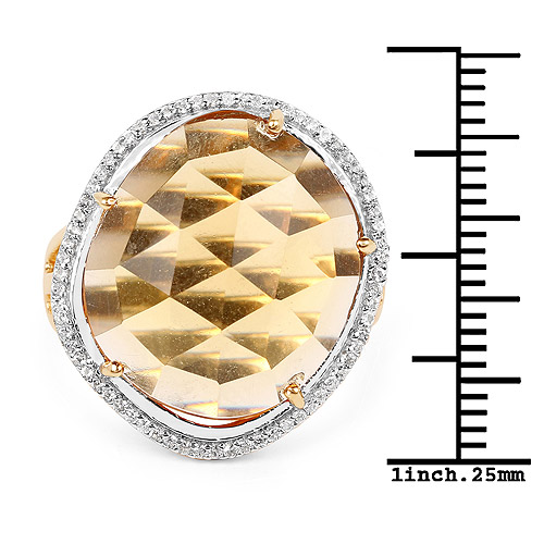 14K Yellow Gold Plated 10.54 Carat Genuine Citrine and White Topaz .925 Sterling Silver Ring