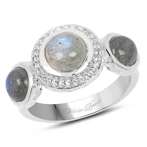 Rings-2.74 Carat Genuine Labradorite And White Topaz .925 Sterling Silver Ring