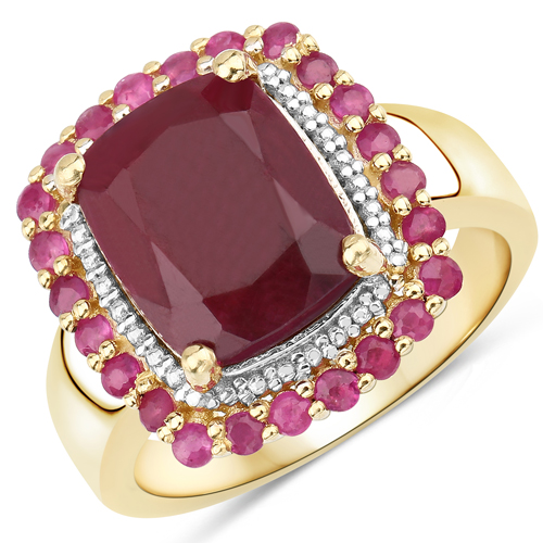 Diamond-14K Yellow Gold Plated 5.84 Carat Dyed Ruby and Ruby .925 Sterling Silver Ring